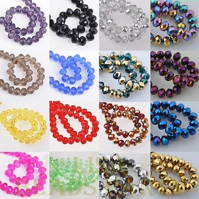 50pcs 8X6mm Rondelle Faceted Crystal Glass Loose Spacer Beads 250 Colors Bulk