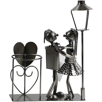 Lover Couple Metal Wine Bottle Holder Stand Rack Home Kitchen Art Decoration New