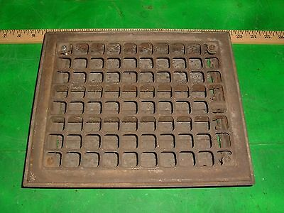 "Vintage Stamped Steel Floor Heat Grate Register Vent Old 8"" x 10"" opening 10x12"
