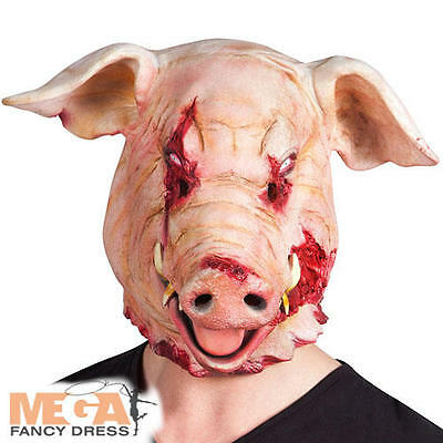 Bloody Pig Mask Fancy Dress Horror Halloween Adults Costume Mens Accessory New