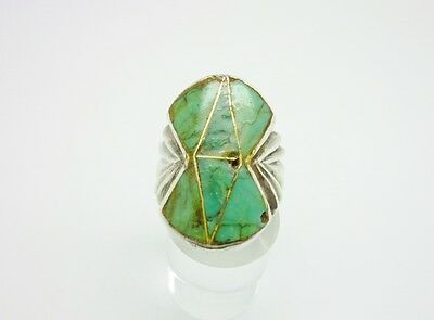 Gorgeous Vintage Native American Sterling Silver Turquoise Geometric Ring Size X