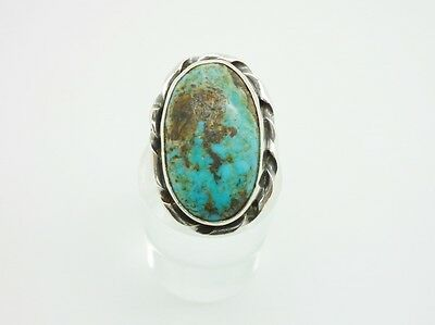 Gorgeous Vintage Native American Sterling Silver Turquoise Ring Size M 1/2