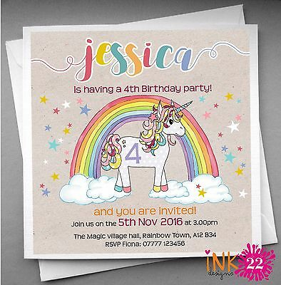 Personalised Kids Girls Invitations card pack Unicorn Birthday Party 10,20,30,40