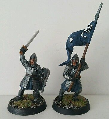 GONDOR Minas Tirith Command 2 x well painted metal models LOTR The Hobbit OOP