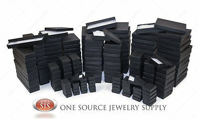 Black Matte Kraft Cotton Filled Gift Boxes Jewelry  Box Lots of 12~25~50~100