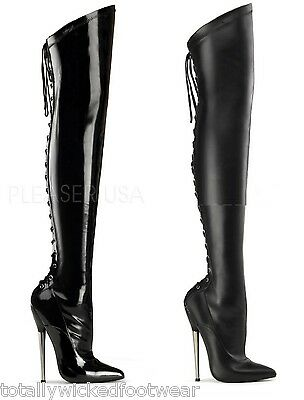"Devious Black Chrome Dagger 6"" High Heel Back Lace Up Thigh High Boots 6-14"