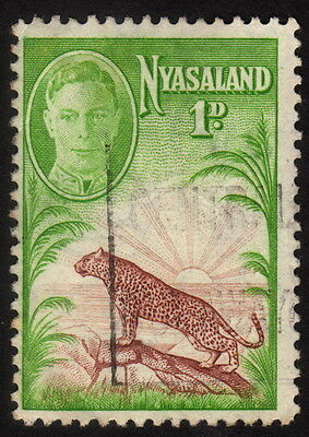 1947, Nyasaland 1p, Used, George VI and Leopard, Sc 84