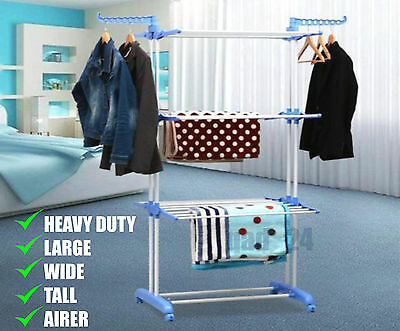 Extra Large Clothes Airer 3 Tier Indoor Outdoor Laundry Dryer Rack Line Foldable