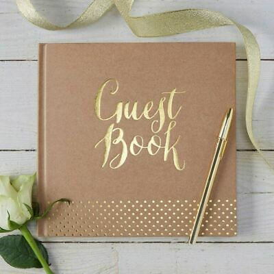 Gold Foiled Guest Book - Kraft Brown Wedding Guest Book - Rustic