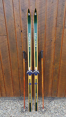 "VINTAGE Wooden 78"" DARK BROWN Skis Signed SPLITKEIN and Bamboo Ski Poles"