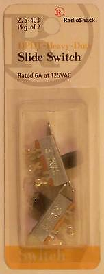 RadioShack 275-403 DPDT Heavy-Duty Slide Switch ~ 2/PK ~ 6A at 125VAC