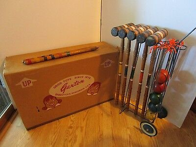 GARTON CROQUET SET METAL STAND ON WHEELS 1950'S BOXED wood mallets Mid century
