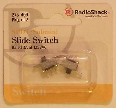 RadioShack 275-409 SPDT Submini Slide Switch ~ 2/PK ~ 3A at 125VAC