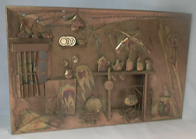 Vintage Copper Picture Plaque Wall Art From 60's-70's Old Ranch House