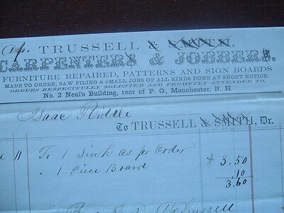 1850's Manchester,New Hampshire/Trussell & Smith Sign board Maker document