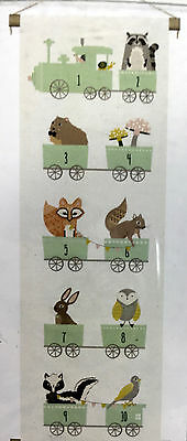 Canvas Nursery Room Wall Banner Cute Whimsical Forest Wild Animals Numbers Train