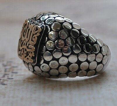 Handcrafted Middle Eastern Islamic sterling Silver-14k Gold