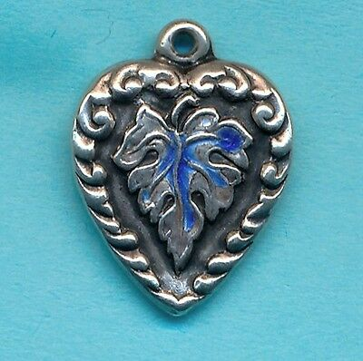 Vintage Sterling Silver Enamel PUFFY HEART ~  Leaf Design Charm name MARION