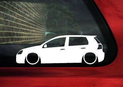 2x LOW vw Golf Mk5 5 door R32 / GTI  lowered , stance car outline stickers