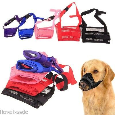 Adjustable Pet Dog Mask Anti Bark Bite Mesh Soft Mouth Muzzle Grooming Chew