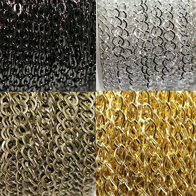 10m Gold/Silver Plated Cable Open Link Iron Metal Chain Findings DIY 2X3mm 3x4mm