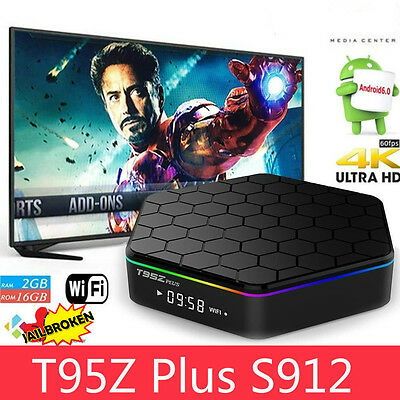 T95Z Plus S912 2GB+16GB Octa Core Android 6.0 TV Box 3D 2.4/5Ghz Dual WIFI BT