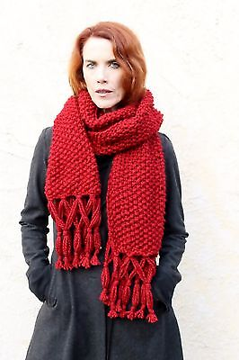 Wine/ Bordeaux Colored Shawl/ Wrap/ Scarf/ Pashmina - HandKnit - Supports Rescue