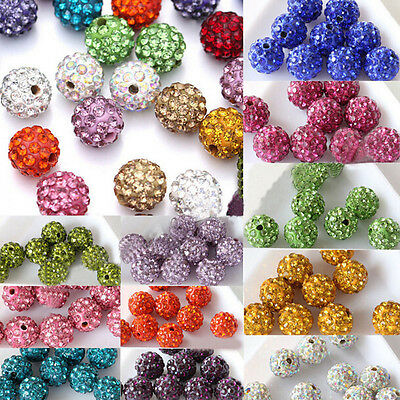 20Pcs Handmade Czech Crystal Rhinestones Pave Clay Round Disco Ball Spacer Beads