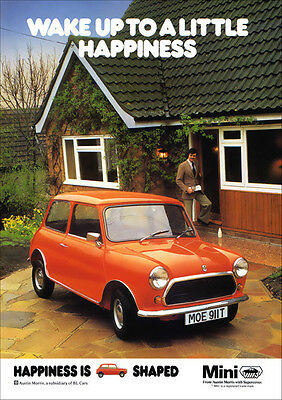MINI AUSTIN MORRIS RETRO A3 POSTER PRINT FROM CLASSIC 70's ADVERT