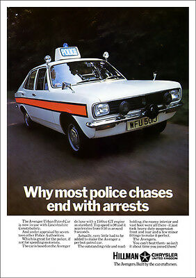 HILLMAN AVENGER POLICE CAR RETRO A3 POSTER PRINT FROM CLASSIC 70's ADVERT
