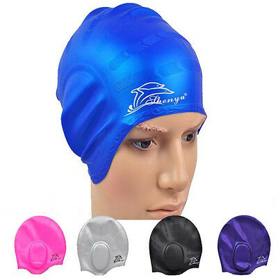 Silicone Stretch Adults Swimming Cap Long Hair Hat With Ear Swim Cup WaterProof