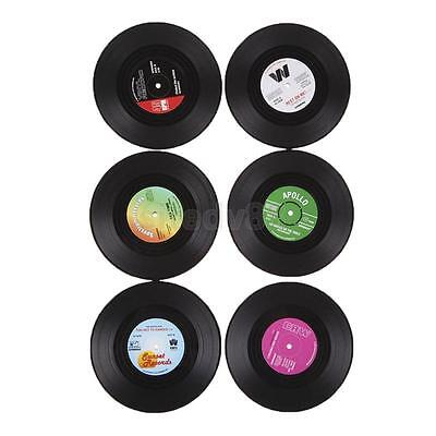 6x 3D Vintage CD Mat Coasters Record Cup Drink Holder Placemat Banquet Decor
