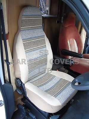 To Fit A Peugeot Boxer Motorhome, Seat Covers, 2013, Beige Stripe, Mh-153
