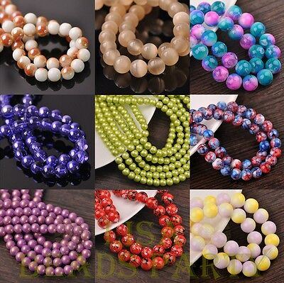 72pcs 8mm Round Charms Loose Spacer Glass Beads Jewelry Making Wholesale Bulk