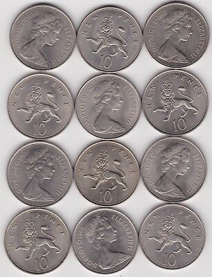 14 x 1968 LARGE NEW TEN PENCE COINS IN NEAR MINT CONDITION