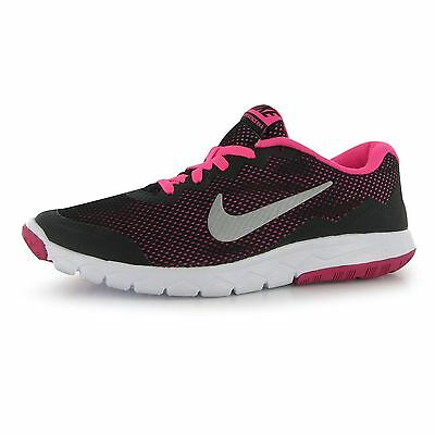 Nike Flex Experience Running Trainers Juniors Blk/Silv/Pnk Sports Shoes Sneakers