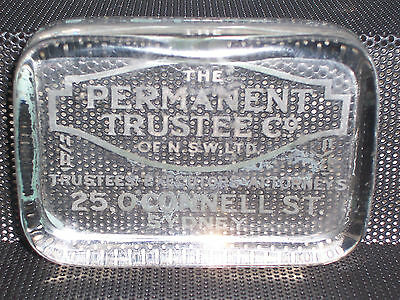 Rare Old Glass The Permanent Trustee Co of N.S.W. Ltd Advertising Paperweight