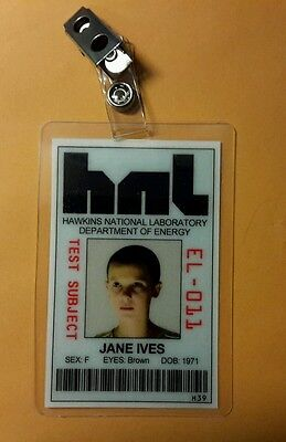 Stranger Things  ID Badge - Test Subject Jane Ives cosplay prop costume