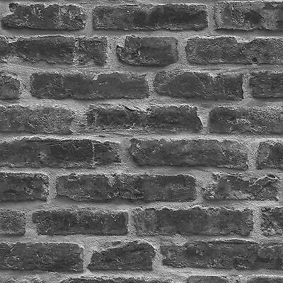 Rustic Brick Wall Wallpaper - Black - J34409 Ugepa