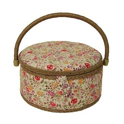 Wild Meadow Floral Flowers Medium Round Sewing Basket Craft Hobby