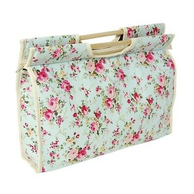 Sky Blue Floral Rose Flowers Wooden Handle Knitting Bag Craft Hobby