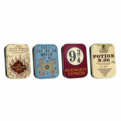 Set Of 4 Harry Potter Assorted Pill Tins Quidditch Potion 86 Marauders Map 9 3/4
