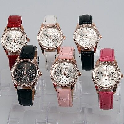6pcs Mixed Lots Bulk Fashion Women Ladies Leather Rhinestone Wristwatches U58M6