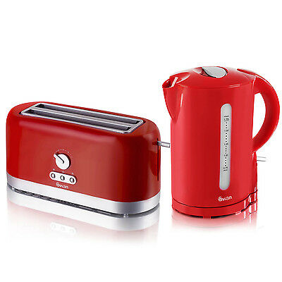 Swan Red Cordless Electric 1.7L Jug Kettle And 4 Slice Long Slot Toaster Set New