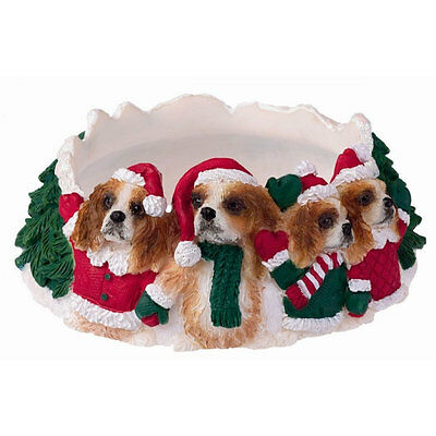 Cavalier King Charles Holiday Candle Topper Ring Tan