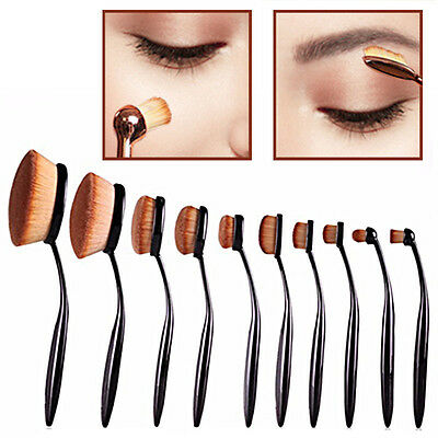 10 PCS Toothbrush Oval Elite Make Up Brushes Set Powder Contour Rose Foundation