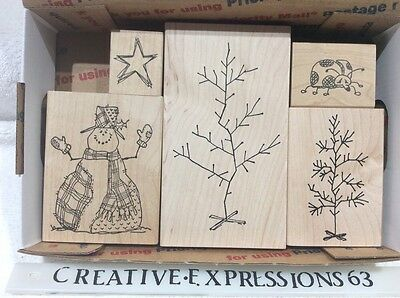 Lot Of 5 Judith Rubber Stamps Christmas ExCondition