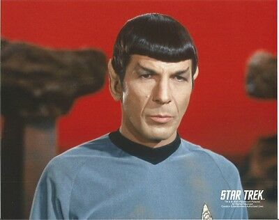 Star Trek Original Series Leonrad Nimoy Spcock Red Background 8 x 10 Photo
