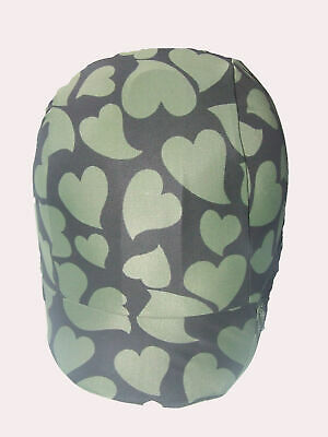 Ecotak black with olive hearts lycra horse helmet cover Ecotak