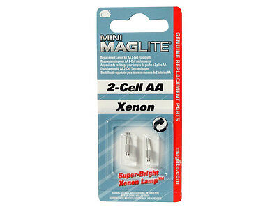 MAGLITE MINI SOLITAIRE AA SPARE TORCH BULB - Pack of 2 Xenon Replacement Bulbs